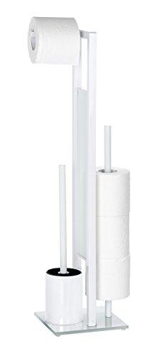 WENKO 21565100 Stand WC-Garnitur Rivalta/Bürstenhalter, Stahl/Glas, 18 x 70 x 20 cm, weiß