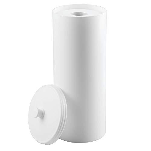 mDesign großer Toilettenpapierbehälter mit Deckel - Toilettenpapieraufbewahrung aus Kunststoff (Durchmesser: 16cm) stehend - Toilettenpapier Box auch für große Rollen - Weiß