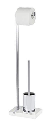 Wenko 204861000 Stand WC-Garnitur Noble White - Polyresin/Chrom, 20 x 74 x 15 cm, weiß