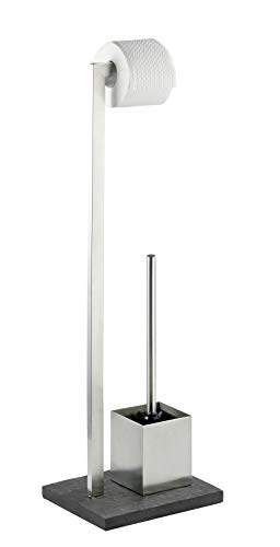 Wenko Stand WC-Garnitur Slate Rock, Stahl/Polyresin, Silber, 11 x 21 x 76 cm