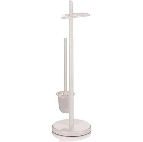 Kela 20540 WC-Bürstentopf und Papierhalterung, Toilettengarnitur, Metall, Ken, 73 cm Höhe, Weiß