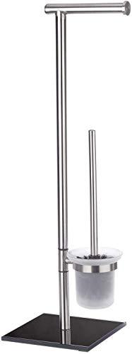 WENKO 20391100 Stand WC-Garnitur Lima-Bürstenhalter, Edelstahl rostfrei/Sicherheitsglas, 23.5 x 69 x 20 cm, satiniert