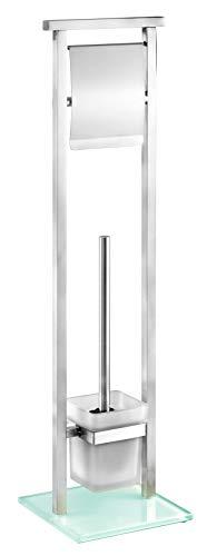 Wenko Stand Garnitur Debar WC-Bürstenhalter, Edelstahl rostfrei, Satiniert, 18 x 18 x 73 cm
