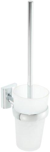Nie Wieder Bohren UN221 Unni deLuxe Toilettenbürstengarnitur, Messing massiv hochglanzverchromt inklusive Befestigungstechnik, Messing massiv hochglanzverchromt inklusive Befestigungstechnik