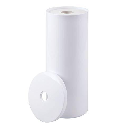 mDesign Toilettenpapierhalter stehend – eleganter Klopapierhalter mit Deckel für bis zu 3 Rollen – Toilettenrollenhalter aus robustem Kunststoff ideal für kleine Räume – weiß