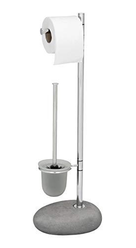 Wenko Stand WC-Garnitur Pebble Stone in grau, Edelstahl, 50 x 40 x 25 cm