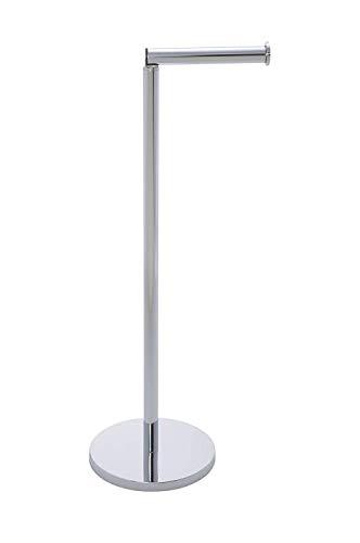 Wenko 19637100 Stand Toilettenpapierhalter 2 in 1, mit Toilettenpapier Ersatzrollenhalter, platzsparend, Edelstahl rostfrei, 21 x 55 x 17 cm, Glänzend