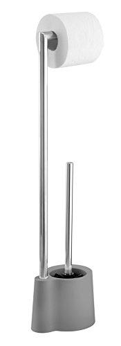 Wenko Stand Garnitur Avola WC-Bürstenhalter, Polypropylen, Grau, 16 x 13 x 70 cm