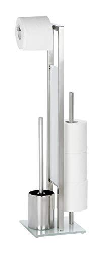 WENKO 21564100 Stand WC-Garnitur Rivalta/Bürstenhalter, Edelstahl rostfrei/Glas, 18 x 70 x 20 cm, matt
