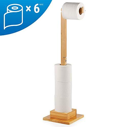 ecooe Bambus Stand Toilettenpapierhalter Ersatzrollenhalter Ideal für 5 Toilettenpapierrollen Stehender WC-Rollenhalter Ständer und Organizer 2 in 1 Platzsparend Ohne Bohren 72 cm …