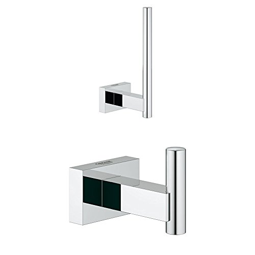Grohe Essentials Cube WC Rollenhalter, chrom, 40623001 + GROHE Essentials Cube | Badaccessoires - Handtuchhaken | silber | 40511001