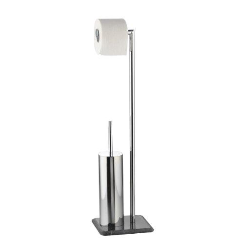axentia Bad 282260 WC-Garnitur Galant, verchromte Toilettengarnitur, mit Marmor-Bodenplatte, WC-Papierrollenhalter und geschlossenem Bürstenhalter mit Metallstiel, 72 cm hoch