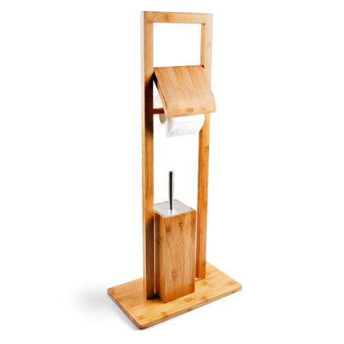 Relaxdays WC Garnitur aus Bambus, HBT: 82 x 36 x 21 cm, Standgarnitur mit Toilettenbürste und Klorollenhalter, Toilettenpapierhalter, natur