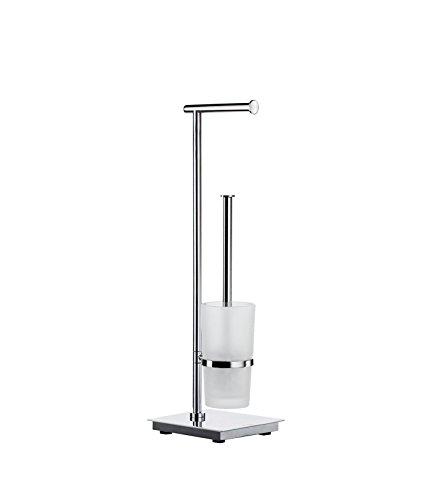 Smedbo Outline Lite WC Rollenhalter und Bürste von Edelstahl poliert/mattiertes Glas, Silber/Weiß