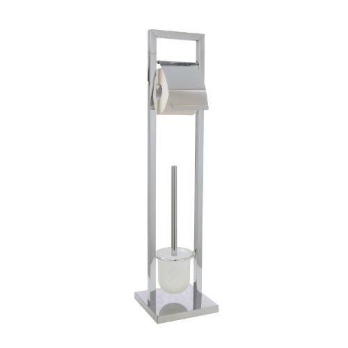 axentia WC-Garnitur Ondor, verchromt, mit WC-Papierrollenhalter, WC-Bürstenhalter und WC-Bürste, Maße: ca. 18 x 18 x 75 cm
