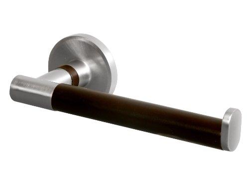 Bisk 00973 Madagaskar Toilettenpapierhalter gebürstetes Nickel und Holz 18 x 7 x 5,4 cm