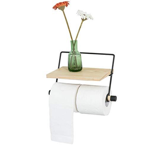 SoBuy® FRG262-N Küchenrollenhalter, Toilettenpapierhalter mit Ablage zur Wandmontage, Rollenhalter für Badezimmer oder Küche, BHT ca.: 29x17x15cm