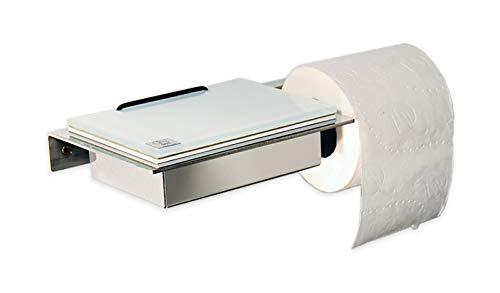 Feuchttücherbox/Rollenhalter Edelstahl, Glas weiß - Made in Germany - Neue Version