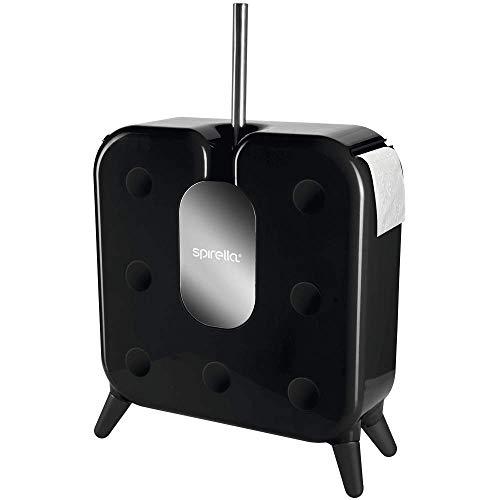 Spirella Cube Design WC Bürste Garnitur mit Rollenhalter und Aufbewahrung für 7 Ersatzrollen Schwarz