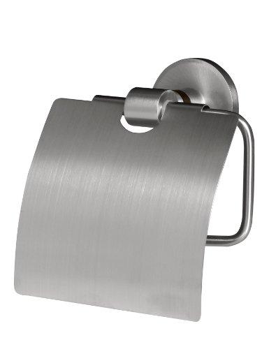Bisk 00974 Madagaskar Toilettenpapierhalter mit Abdeckung, 13,5 x 6 x 13,5 cm, Nickel gebürstet
