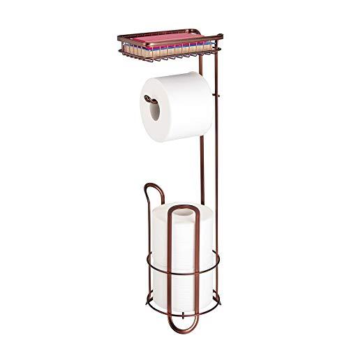 mDesign Toilettenpapierhalter ohne Bohren – Klorollenhalter fürs Badezimmer mit Ablage für Feuchttücher, Magazine etc. - zeitloser Papierrollenhalter aus Metall – bronzefarben
