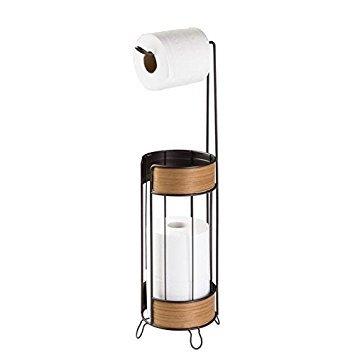 mDesign Toilettenpapierhalter - schicker, freistehender Klopapierhalter - der ideale Papierrollenhalter - Farbe: bronze, Teak-Finish