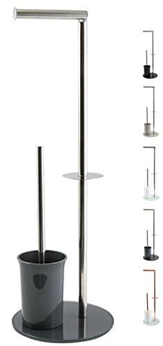 """MSV """"Bergamo Stand WC Garnitur WC Bürste Rollenhalter Toilettenbürste Klobürste Klopapierhalter aus Edelstahl und Glas Grau 3in1"""