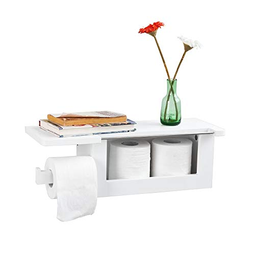 SoBuy® Toilettenpapierhalter zur Wandmontage multifunktional Badregal FRG175-W