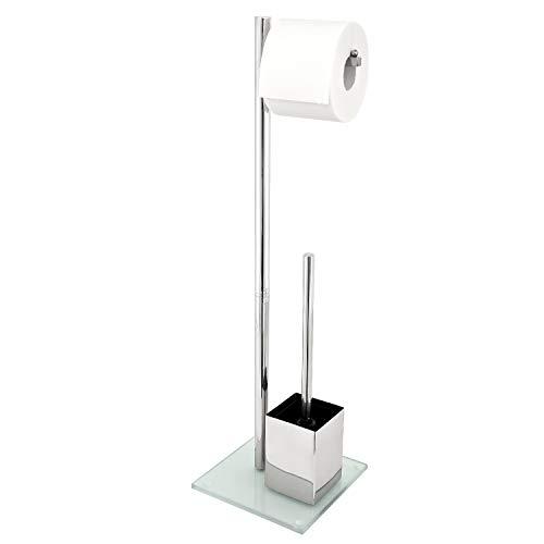 bremermann WC-Ständer, WC-Garnitur, WC-Bürste, Edelstahl rostfrei, Sicherheitsglas, weiß