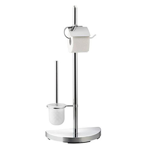 axentia WC-Garnitur Lianos aus Chrom - Toilettenpapierhalter, Toilettenbürste & Klobürstenhalter stehend - WC Bürstengarnitur ohne Bohren - WC-Ständer und Bürste verchromt