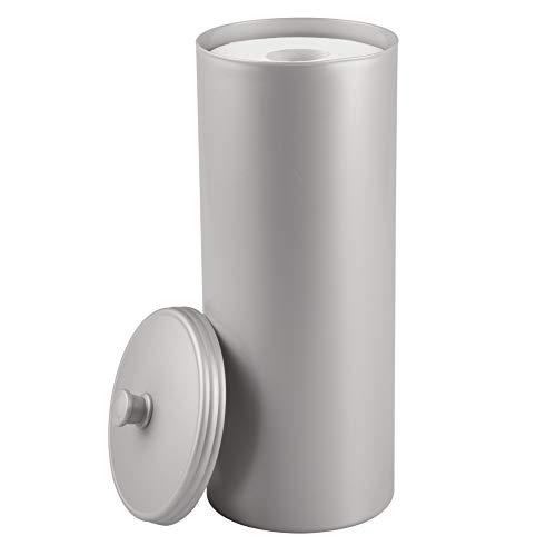 InterDesign Kent Ersatzrollenhalter mit Deckel, freistehender und kompakter Toilettenpapierhalter für Ersatzrollen aus Kunststoff, silberfarben