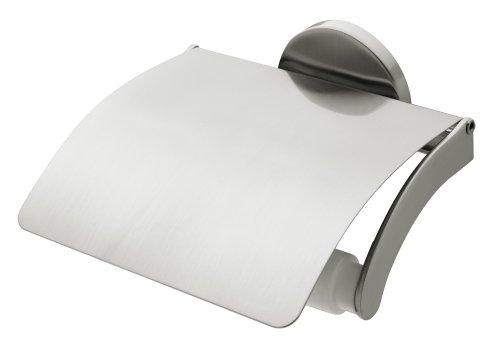 Bisk Virginia Toilettenpapierhalter zur Wandmontage, mit Abdeckung, gebürstetes Nickel