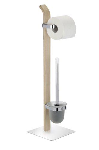 Wenko 203971000 Stand WC-Garnitur Samona Nature - Metall verchromt/Schichtholz, 20 x 71,5 x 20 cm, natur