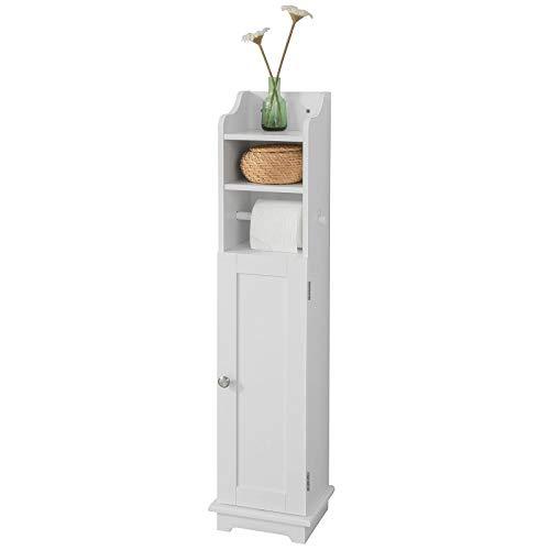 SoBuy FRG177-W Freistehend weiß Toilettenrollenhalter Toilettenpapieraufbewahrung Badregal Standschrank BHT ca: 20x100x18cm