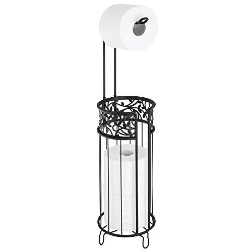 mDesign Toilettenpapierhalter stehend – moderner Papierrollenhalter fürs Badezimmer – Klopapierhalter für mehrere Rollen – mit Halter für 3 Reserverollen – schwarz