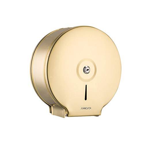 Fxm Jumbo Roll Toilettenpapierhalter Stand Wand Bad Tissue Rollenspender, Edelstahl, Abschließbare Design, für Hotel Home, Gold, H 10 Zoll