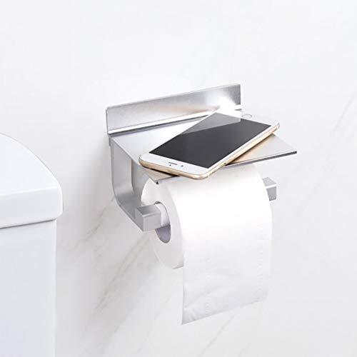 WC Papierhalter ohne Bohren, OIZEN Toilettenpapierhalter mit Ablage, Rollenhalter Wandrollenhalter, Patentierter Kleber + Selbstklebender 3M-Kleber, Aluminium, Matte Finish