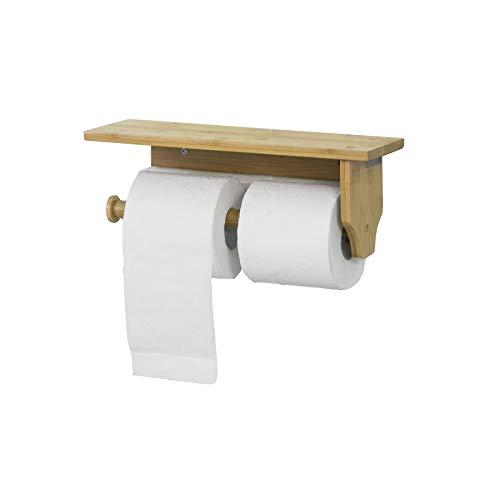 SoBuy FRG253-N Toilettenpapierhalter mit Ablage zur Wandmontage, Rollenhalter für Badezimmer oder Küche, Küchenrollenhalter, BHT ca: 33x12x12cm