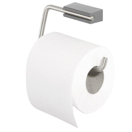 Tiger Cliqit Toilettenpapierhalter, Edelstahl gebürstet, Wandbefestigung ABS Kunststoff, grau