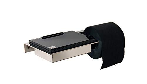 Feuchttücherbox/Toilettenrollenhalter Edelstahl, Glas schwarz - Made in Germany - Neue Version