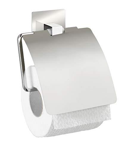 WENKO Turbo-Loc® Edelstahl Toilettenpapierhalter mit Deckel Quadro - Befestigen ohne bohren, Edelstahl rostfrei, 13 x 16.5 x 3.5 cm, Chrom