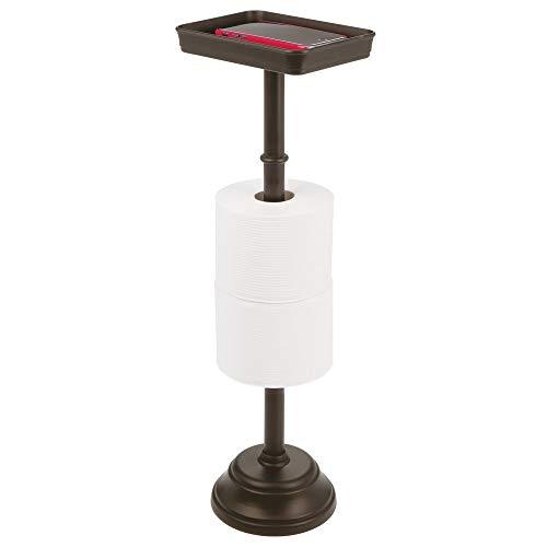 MetroDecor mDesign Toilettenpapierhalter für Zwei WC-Rollen – Zeitloser Papierrollenhalter mit Ablagefläche – Klopapierhalter und Ablage für Bücher, Handys etc. – bronzefarben