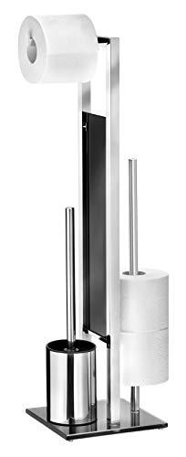 WENKO 22983100 Stand WC-Garnitur Rivalta/Bürstenhalter, Edelstahl rostfrei/Glas, 18 x 70 x 20 cm, glänzend
