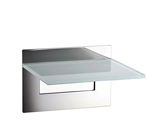Ablage, Wandablage - OHNE BOHREN - Badablage, Edelstahl hochglänzend/Glas - Made in Germany -