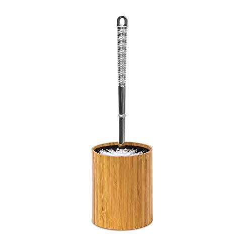 Relaxdays WC-Bürstenhalter Bambus H x B x T 33 x 10,4 x 10,4 cm Toilettenbürste aus Kunststoff in Edelstahl-Optik mit austauschbarem Bürstenkopf Garnitur plus hygienischem Kunststoffbehälter, natur