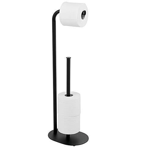 mDesign Toilettenpapierhalter stehend – moderner Papierrollenhalter fürs Badezimmer – Klopapierhalter für mehrere Rollen – mit Platz für 3 Reserverollen – mattschwarz