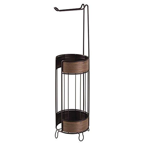 iDesign 90177EU RealWood Freistehender Toilettenpapierhalter für Bad, Edelstahl, bronze/walnuss-Finish, 18.034 x 17.526 x 63.4746 cm