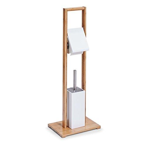 Zeller 18636 WC-Garnitur, Bamboo/MDF, weiß, ca. 30 x 21 x 82 cm