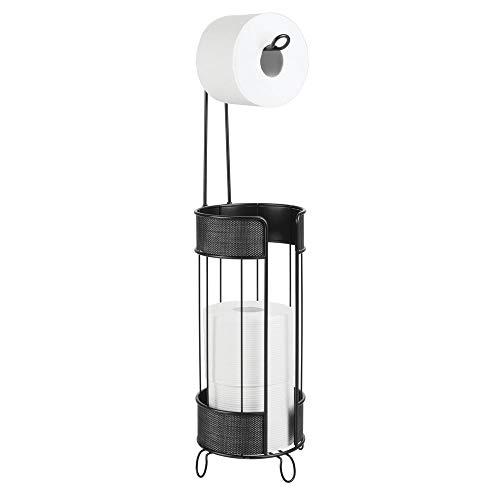 MetroDecor mDesign Toilettenpapierhalter stehend – moderner Papierrollenhalter fürs Badezimmer – Klopapierhalter für mehrere Rollen – mit Halter für 3 Reserverollen – Mattschwarz