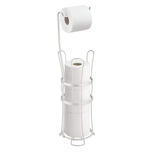 mDesign Toilettenpapierhalter ohne Bohren für bis zu 4 Rollen – freistehender Klorollenständer für das Badezimmer – 2-in-1 Toilettenpapierständer und Ersatzpapierrollenhalter aus Metall – mattweiß